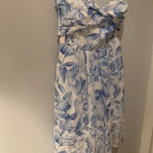 White House Black Market Blue Floral Dress